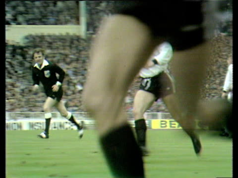 bobby moore watches throw in john cutbush dispossessed by pat holland who passes inside to bill jennings who shoots shot parried by goalkeeper and... - pat jennings stock videos and b-roll footage