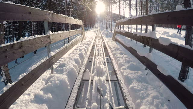 bobsled on snow-point of view - bobsledding stock videos & royalty-free footage