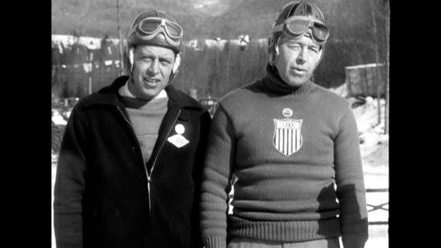bobsledding natural sound of spectators interview with sledders / men's speed skating irving jaffee winning race 1932 winter olympics on january 01... - bobsleighing stock videos & royalty-free footage
