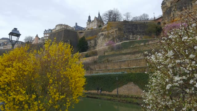 Bock Casemates, seen from Alzette Valley, Grund, Luxembourg City, Grand Duchy of Luxembourg, Europe