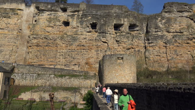 bock casemates seen from grund, alzette valley, luxembourg city, grand duchy of luxembourg - luxembourg benelux stock videos & royalty-free footage