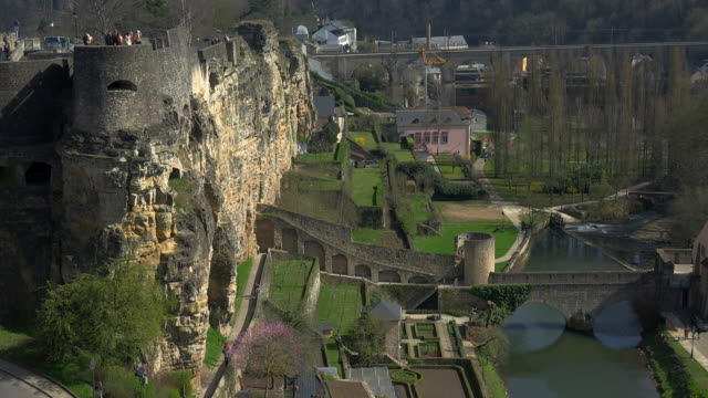 bock casemates with alzette valley in luxembourg city, grand duchy of luxembourg - luxembourg benelux stock videos & royalty-free footage
