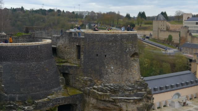 Bock fortress and Neumuenster Abbey, Luxembourg City, Grand Duchy of Luxembourg, Europe