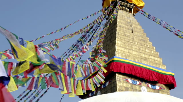 bodhnath stupa buddhist temple, kathmandu, nepal - stupa stock videos & royalty-free footage
