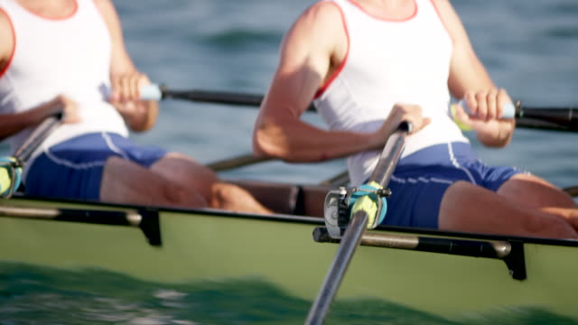bodies of male athletes rowing in sunshine - rowing stock videos & royalty-free footage