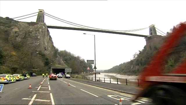 bodies of missing mother and baby found in bristol / review launched england bristol ext low angle shot of bristol suspension bridge with police cars... - clifton suspension bridge stock videos and b-roll footage