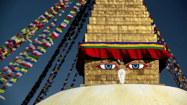 bodnath stupa kathmandu valley nepal - circa 5th century stock videos & royalty-free footage