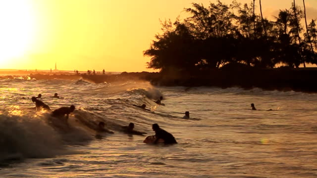 body boarding at sunset - kauai stock videos and b-roll footage