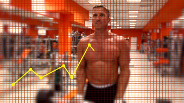 vídeos y material grabado en eventos de stock de cuerpo builder con barra para pesas. diagrama - press de banca
