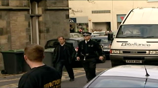 man charged scotland linlithgow police van arrives at court michael hamilton and police officer walk ahead of police van onlookers heard shouting... - linlithgow stock videos and b-roll footage