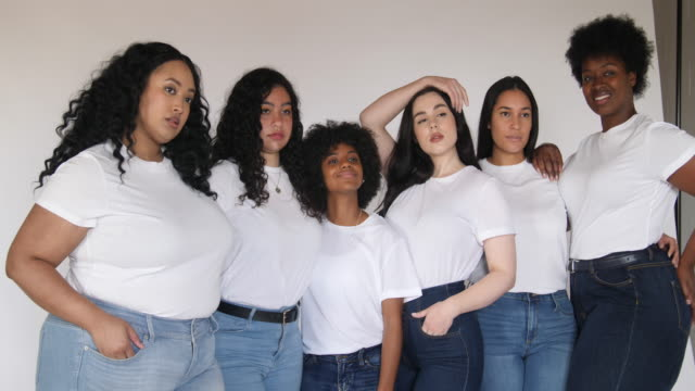 body positive female models on white background - jeans stock videos & royalty-free footage