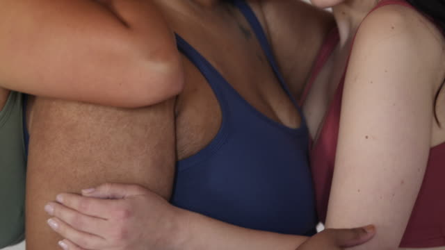 body positive models together in lingerie - bra stock videos & royalty-free footage
