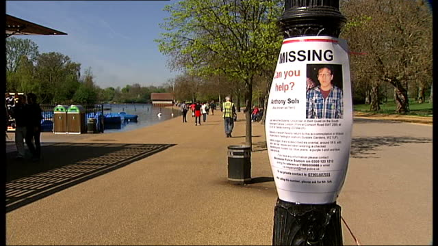body recovered from serpentine is thought to be that of missing student anthony soh hyde park missing person poster for anthony soh tied to lamppost... - missing persons stock videos & royalty-free footage