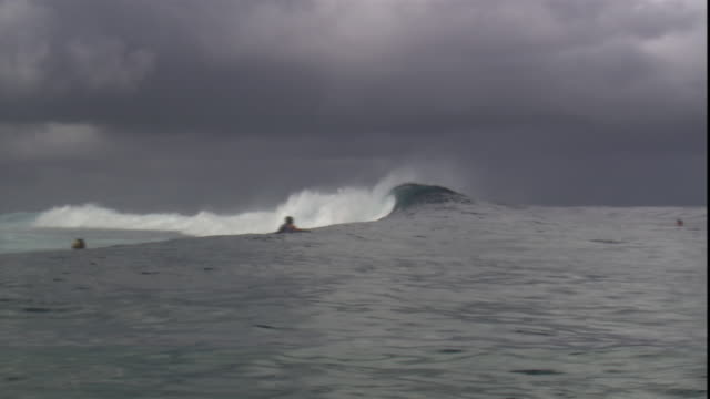 vidéos et rushes de bodyboarders catch waves in the ocean. - dom tom