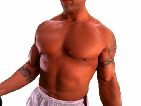 bodybuilder lifting weights - pectoral muscle stock videos and b-roll footage