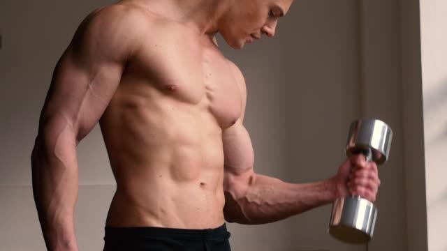 bodybuilder mit freien gewichten - bizeps stock-videos und b-roll-filmmaterial