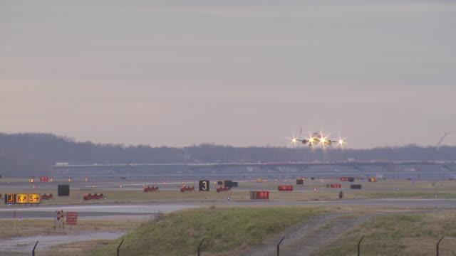 boeing 737 jet landing, dulles airport, virginia, usa - landing touching down stock videos & royalty-free footage