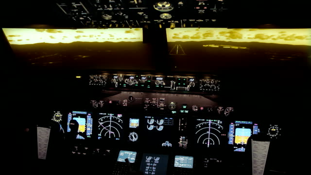 boeing 737 ng cockpit evening approach - flight simulator - cockpit stock videos & royalty-free footage