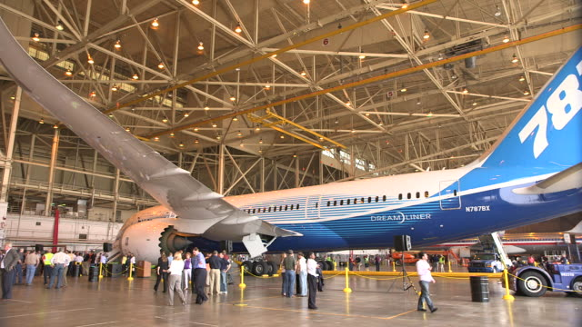 pan boeing 787 dreamliner in hanger for press event/dfw international airport, dallas-fort worth, texas, usa - dallas fort worth airport stock videos & royalty-free footage