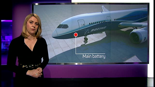 vídeos de stock, filmes e b-roll de boeing 787 dreamliner taken out of service; england: london: int reporter to camera with videowall behind - boeing 787