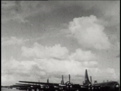 boeing b-29 superfortresses play an important roll in the operation crossroads atomic bomb testing at bikini atoll. - film stock videos & royalty-free footage