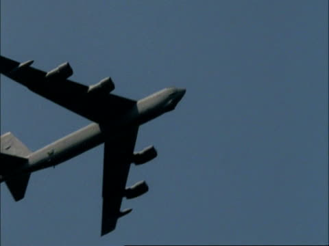 Boeing B52 bomber flies past overhead in blue sky, England, UK