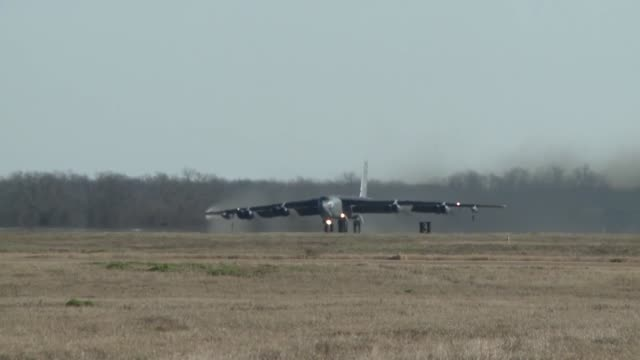 Boeing B52 Stratofortress first take off after the resurfacing of the runway at Barksdale Air Force Base