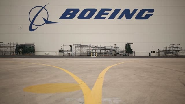 Boeing C17 Globemaster III airplanes sit parked inside a hangar at the Boeing Company's Global Services and Support San Antonio facility in San...