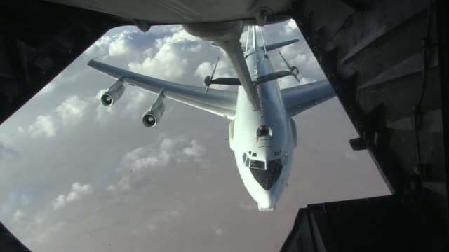 Boeing E3 Sentry Air refueling with Detach above Al Dhafra Air Base UAE