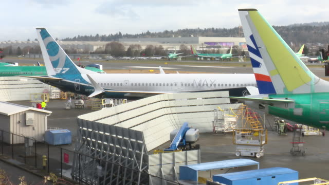 boeing's 737 max range of passenger jets are produced at the company's renton plant near seattle in washington state usa - boeing stock videos & royalty-free footage