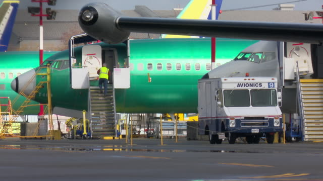 boeing's 737 max range of passenger jets are produced at the company's renton plant near seattle in washington state usa - boeing 737 stock-videos und b-roll-filmmaterial