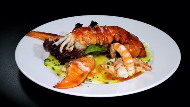 bogabante salad with carpaccio - lobster stock videos & royalty-free footage