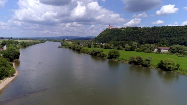 bogenberg mountain on danube river in lower bavaria - river danube stock videos & royalty-free footage