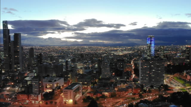 bogota evening from a drone point of view - america latina video stock e b–roll