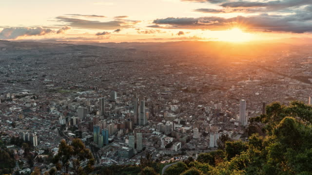bogota timelapse sunset from a high up vantage point - america latina video stock e b–roll