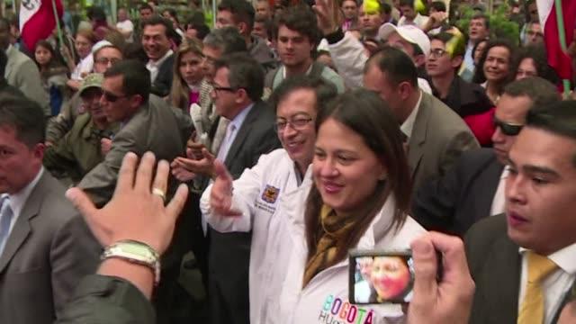 bogotas mayor gustavo petro is reinstated by president juan manuel santos after being ousted in march - juan manuel santos stock videos & royalty-free footage