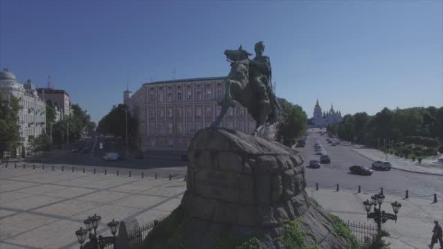 bohdan khmelnytsky monument on sophia square in kiev, aerial view - monument stock videos & royalty-free footage