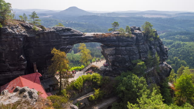 bohemian switzerland, czech republic. pravcicka brana. - sandstone stock videos & royalty-free footage