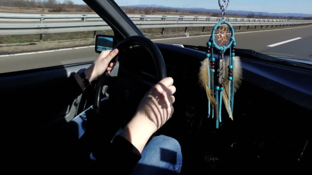 boho style dream catcher in vintage car - boho stock videos & royalty-free footage