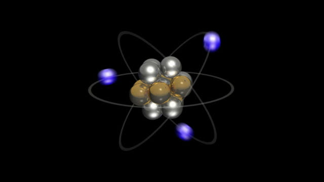 cgi of bohr model of an atom showing the electrons, neutrons and protons - neutron stock-videos und b-roll-filmmaterial