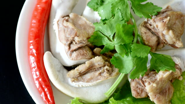 boiled beef tongue garnished with parsley, lettuce, red chilli - parsley stock videos and b-roll footage