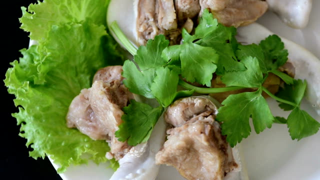 boiled beef tongue garnished with parsley, lettuce - parsley stock videos and b-roll footage