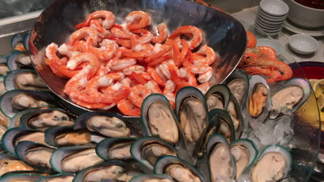 boiled seafood , prawn and musselthailand - prawn seafood stock videos & royalty-free footage