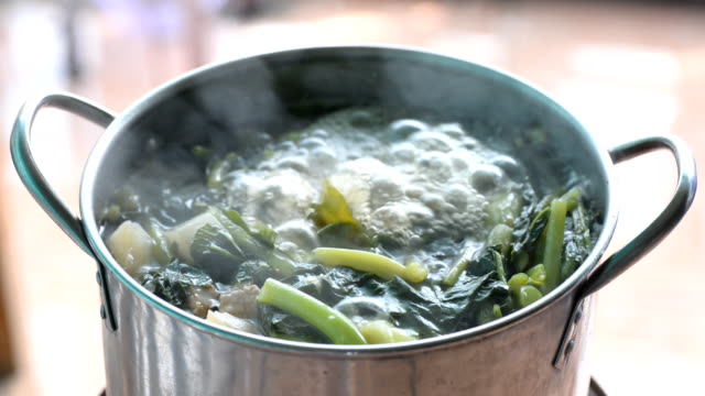 boiled vegettables in the pot - boiling stock videos & royalty-free footage