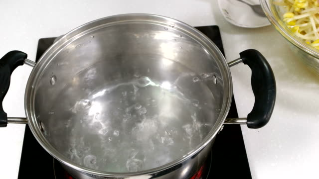 Boiling Bean Sprout in a pot