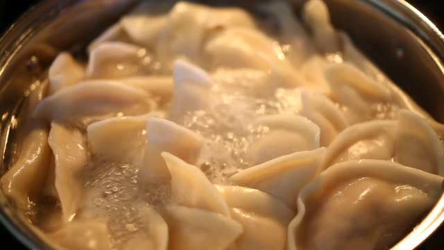 boiling cooking asian chinese dumpling over electric stove - ダンプリング点の映像素材/bロール