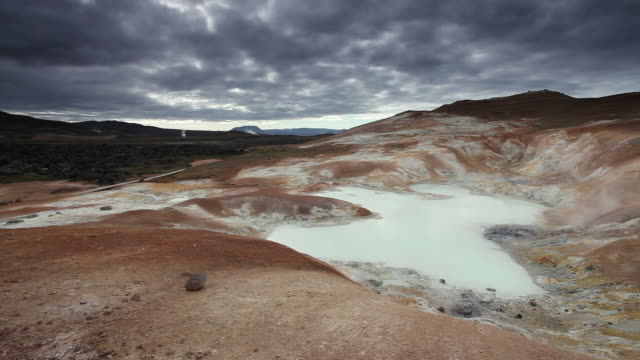 ms boiling hot geothermal water in small water pool with steams and orange rock in background / krafla, myvatn region, iceland - solid stock videos & royalty-free footage