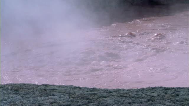 MS SLO MO Boiling mud pots / Yellowstone National Park, Wyoming, USA
