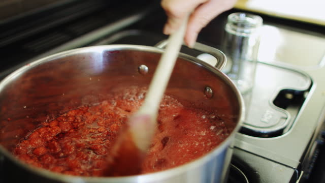 boiling red jam - preserve stock videos and b-roll footage