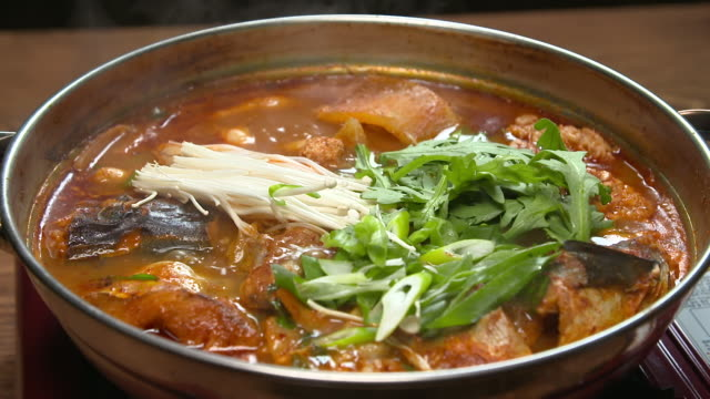 boiling saengtae tang (pollack soup) in the pot (korean food) - pollock fish stock videos & royalty-free footage